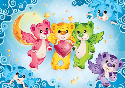 Rainbow Bears Photo Wallpaper Mural 507P8