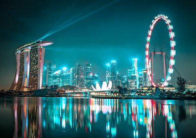Singapore at night Photo Wall Mural 13361P8