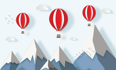Mountain Airballoon Photo Wall Mural 13609P8