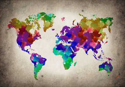 World Map Photo Wallpaper Mural 10009P8