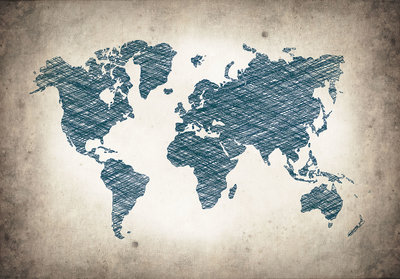 World Map Photo Wallpaper Mural 10010P8