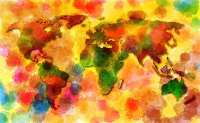 World Map Photo Wallpaper Mural 10423P8