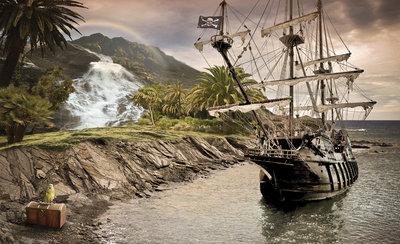 Boat & Nature Photo Wallpaper Mural 2050P8