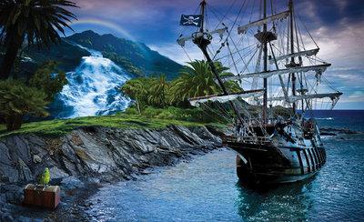 Boat & Nature Photo Wallpaper Mural 2051P8