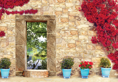 Flowers Stone Photo Wall Mural 10503P8