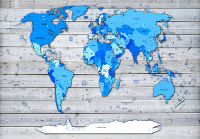 Photo Wall Mural World Map & Wood 10868P8