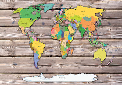 Photo Wall Mural World Map & Wood 10869P8