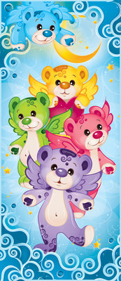 Rainbow Care Bear Bedroom Girls Door Mural Photo Wallpaper 507VET