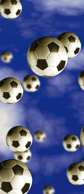 Footballs on Blue Background Door Mural Photo Wallpaper 187VET