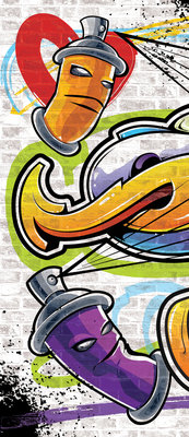 Colourful Graffiti Door Mural Photo Wallpaper 1399VET