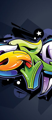 Colourful Graffiti on Navy Blue Door Mural Photo Wallpaper 1509VET