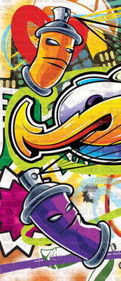 Colourful Graffiti Door Mural Photo Wallpaper 1400VET