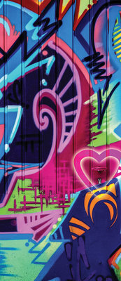 Colourful Abstract Graffiti Door Mural Photo Wallpaper 1508VET