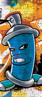 Blue Graffiti Spray Paint Can  Door Mural Photo Wallpaper 1398VET