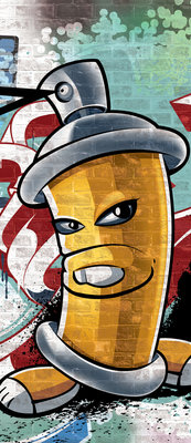 Yellow Graffiti Spray Paint Can Door Mural Photo Wallpaper 1397VET