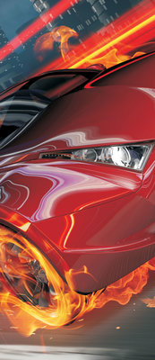 Red Car in Fire Door Mural Photo Wallpaper 132VET