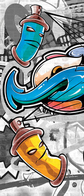 Colourful Graffiti on Gray Door Mural Photo Wallpaper 2294VET