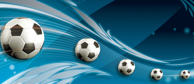 Footballs on Blue Background Door Mural Photo Wallpaper 3385VET