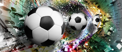 Footballs in 3D Puzzle Tunnel Door Mural Photo Wallpaper 3381VET