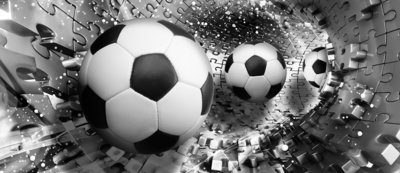 Footballs in 3D Puzzle Tunnel Door Mural Photo Wallpaper 3382VET