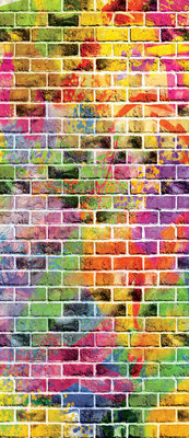 Graffiti - Colourful Bricks Door Mural Photo Wallpaper 3469VET