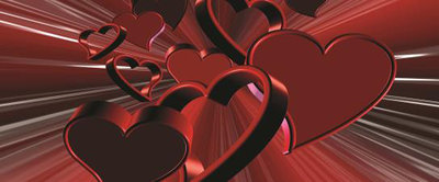 Red Hearts Art Abstract Panoramic Photo Wall Mural 277VEP