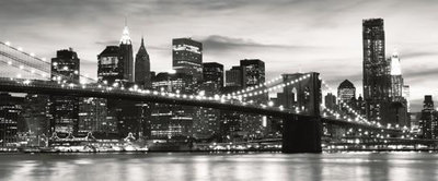New York City and Brooklyn Bridge Panoramic Photo Wall Mural 226VEP
