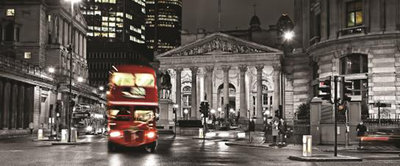 London and Red Double Decker Panoramic Photo Wall Mural 196VEP