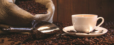 Sack Full of Coffee Beans Panoramic Photo Wall Mural 291VEP