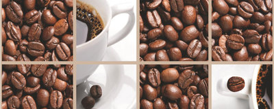 Coffee Beans and Cups Collage Panoramic Photo Wall Mural 114VEP