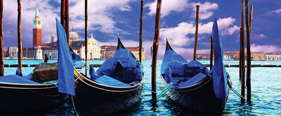 Venetian Gondolas Panoramic Photo Wall Mural 141VEP