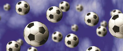 Footballs on Blue Background Panoramic Photo Wall Mural 187VEP