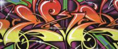 Colourful Graffiti Panoramic Photo Wall Mural 140VEP