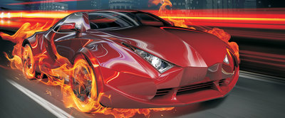 Red Car in Fire Panoramic Photo Wall Mural 132VEP