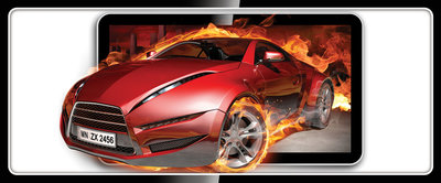 Red Car in Fire Panoramic Photo Wall Mural 294VEP