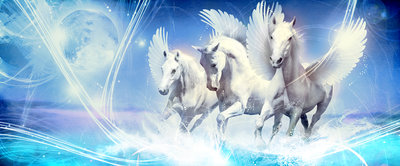 Pegasus on Blue Background Panoramic Photo Wall Mural 588VEP