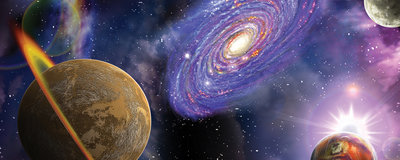 Space Galaxy Planets Panoramic Photo Wall Mural 309VEP