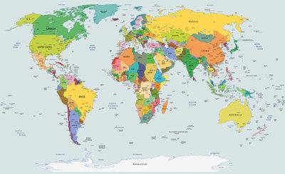 World Map Photo Wallpaper Mural 2644P8