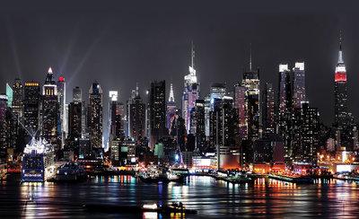 New York By Night Photo Wallpaper Mural 1309P8