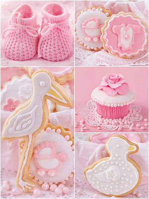 Baby Shoes and Pink Cupcakes Photo Wall Mural 10445VEA