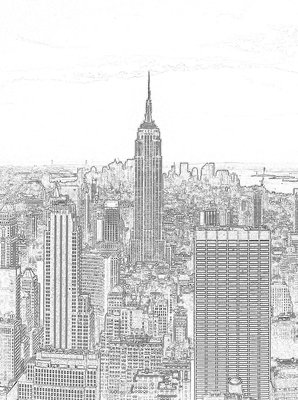 Black and White Sketch of City Photo Wall Mural 10688VEA