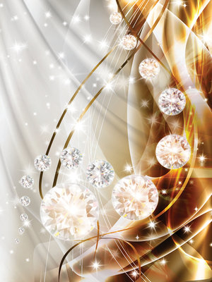 Abstract, Diamonds, Silver and Gold Photo Wall Mural 10403VEA