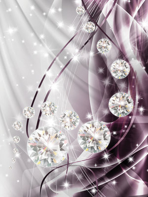 Abstract, Diamonds, Silver and Violet Photo Wall Mural 10404VEA