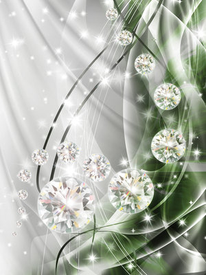 Abstract, Diamonds, Silver and Emerald Photo Wall Mural 10405VEA