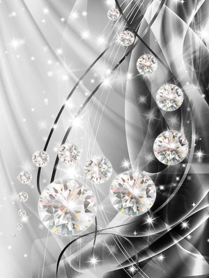 Abstract, Diamonds, and Silver Photo Wall Mural 10406VEA