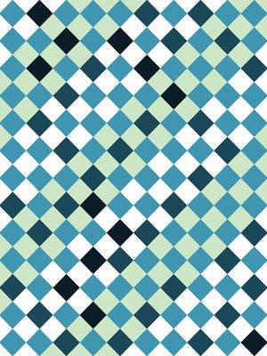 Blue Tiles Mosaic Photo Wall Mural 10701VEA
