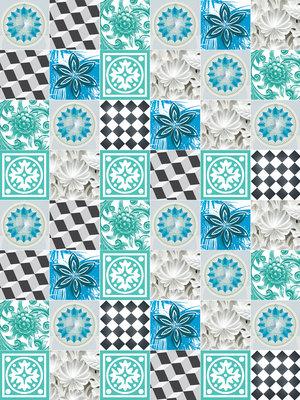 Blue Tiles Mosaic Photo Wall Mural 10702VEA