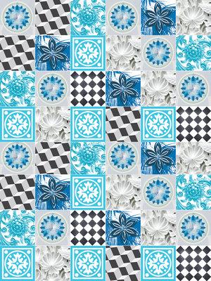 Blue Tiles Mosaic Photo Wall Mural 10707VEA