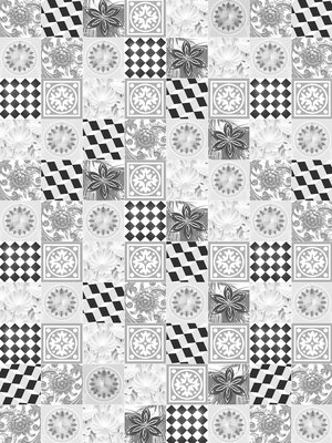 Black and White Tiles Photo Wall Mural 10855VEA