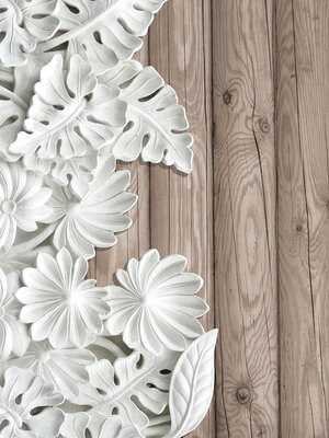 Alabaster Flowers on Wooden Planks Photo Wall Mural 10136VEA